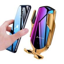 R1 צ י אלחוטי מטען לרכב 10w Chargeur Sans Fil רכב מחזיק עבור Samsung S10 Iphone SE 2 11 חכם חיישן Draadloos Opladen אוטומטי