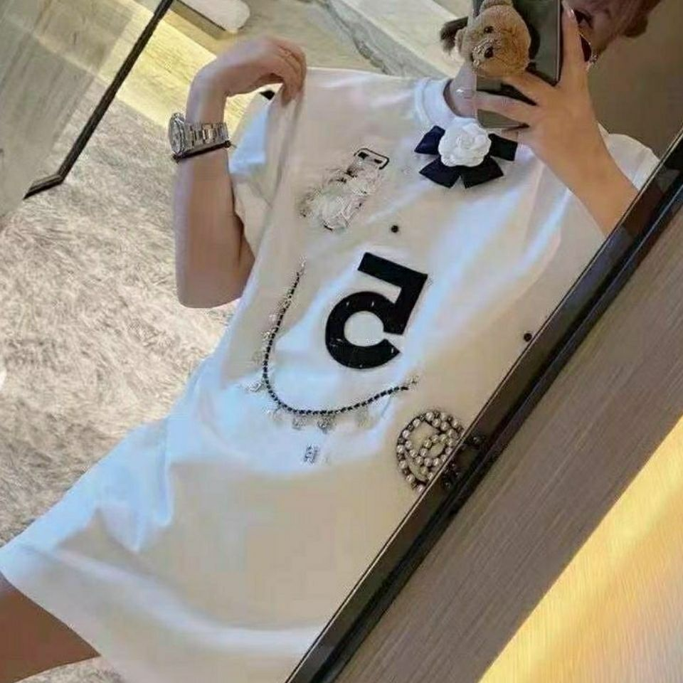 2021 new xiaoxiangfeng short sleeve T-shirt, hand nailed bead chain accessories, very versatile and fashionable