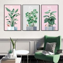 Green Plant Leaf Print Tropical Leave Poster Canvas Painting Wall ArtWall Pictures for Living Room Home Decoration Poster Nordic(China)
