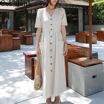 Colorfaith-vestido de verano para mujer, nuevo, 2020, cintura alta, manga abombada, bolsillos informales, Vestido largo de algodón y lino DR6152