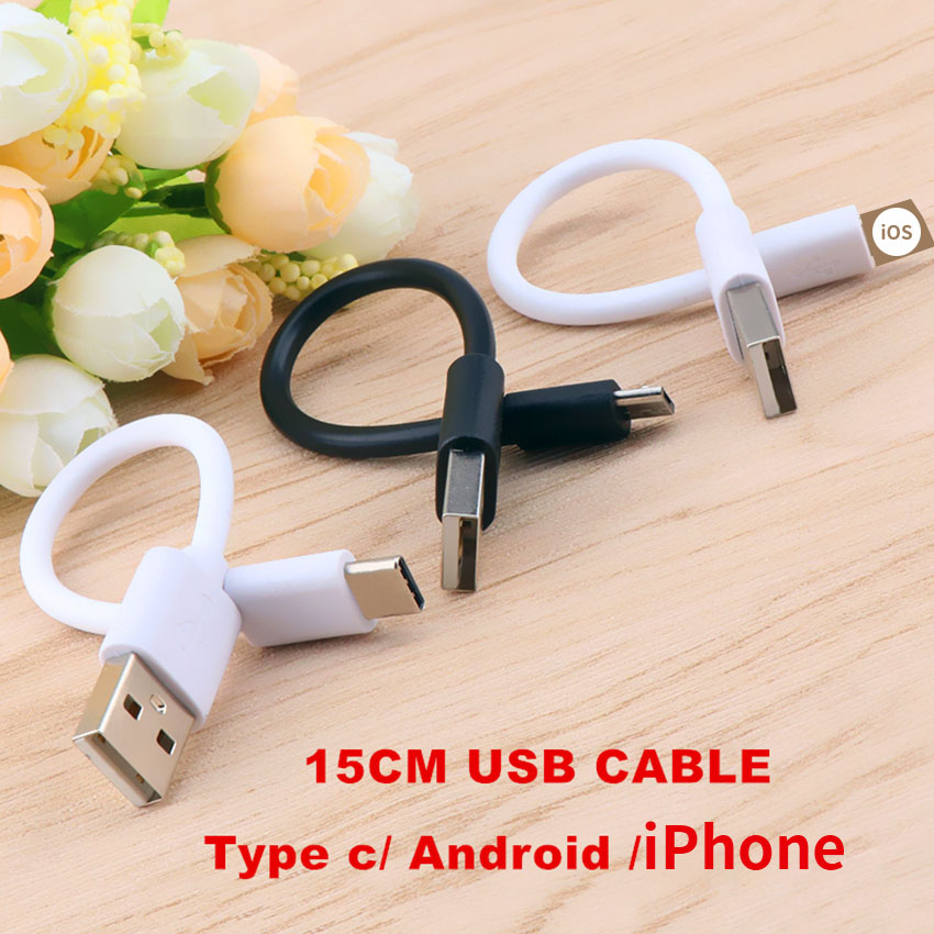 Micro USB <font><b>cable</b></font> 15cm Short Data Cord for type-c Huawei android power bank <font><b>Cables</b></font> for iPhone Oneplus xiaomi charging Short <font><b>cable</b></font> image