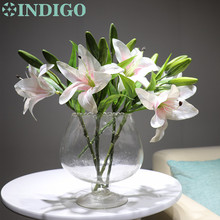 INDIGO - 5pcs Real Touch White Lily Home Flower Artificial Short Wedding Party High Quality Free Shipping