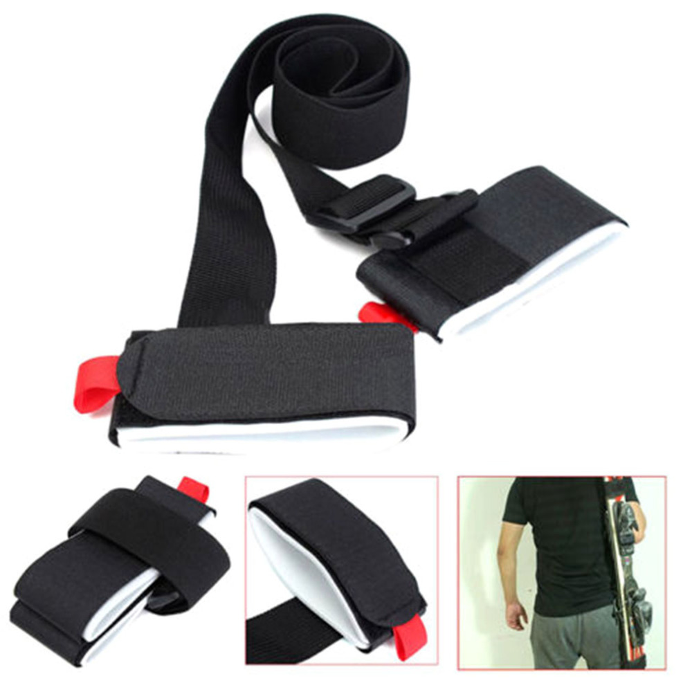 Black Nylon Skiing Handle Strap Fixed Adjustable Buckle Rope For Winter Snow Board Ski Boards Carry