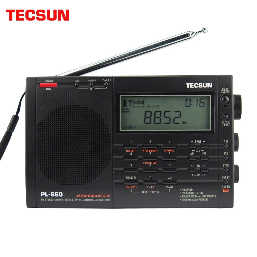 TECSUN Rádio PL-660 PLL SSB VHF AR Receptor de Rádio Band FM/MW/SW/LW Rádio Multibanda Dual conversão TECSUN PL660