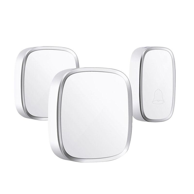 Ip44 Waterproof Wireless Doorbell 280M Range Smart Home Door Bell Chime Ring 1 Button 2 Receiver Vc110-220V(Eu Plug)