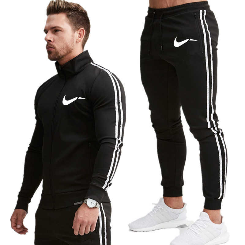 Men's Autumn made of high quality materials solid Zipper Sweatshirt Top Pants Sets Sports Suit Tracksuit Gift