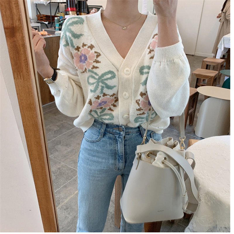 Alien Kitty 2019 Casual Women Knitted Patchwork Floral Loose Soft V-Neck All-Match Elegant Fresh Cardigans Warm Chic Sweaters