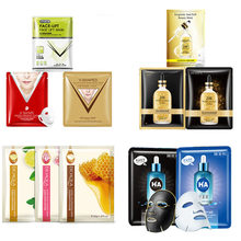 BIOAQUA 24K gold face masks honey rose hyaluronic acid v shape Hang ear type facial mask Acne Treatment Anti-Aging skin care