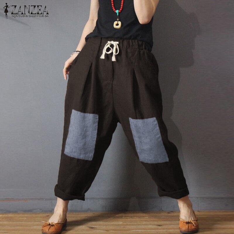 ZANZEA 2019 Vintage Women   Wide     Leg     Pants   Casual Drawstring Waist Long Trousers Patchwork Pockets   Pants   Plus Size 5XL Streetwear