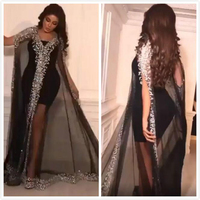Luxurious Black Formal Evening Dresses Beads Crystal V Neck Long Sleeves Party Dress 2020 Mermaid Prom Gowns