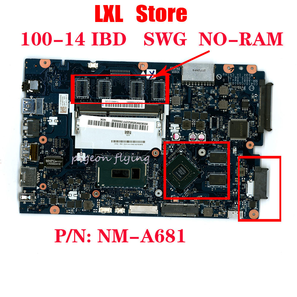 NEW 80RK for lenovo ideapad 100-14 IBD laptop motherboard CPU:I3-5005(<font><b>SR27G</b></font>) GPU-920M DDR3 P/N: NM-A681 FRU 5B20K86280 image
