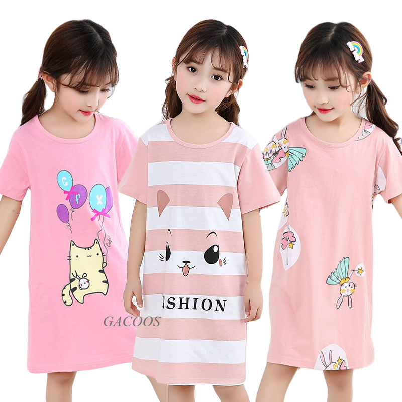 Fashion Children Clothing Summer Girls Dresses Baby Pajamas Cotton Princess Nightdress Girl Sleepwear Kids Unicorn Nightgown