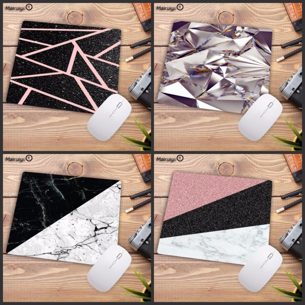 LaumansModern Black White Marble Rose Gold Color Block Stripes Pattern Customized Laptop Gaming Mouse Pad DIY Painted Mousepad