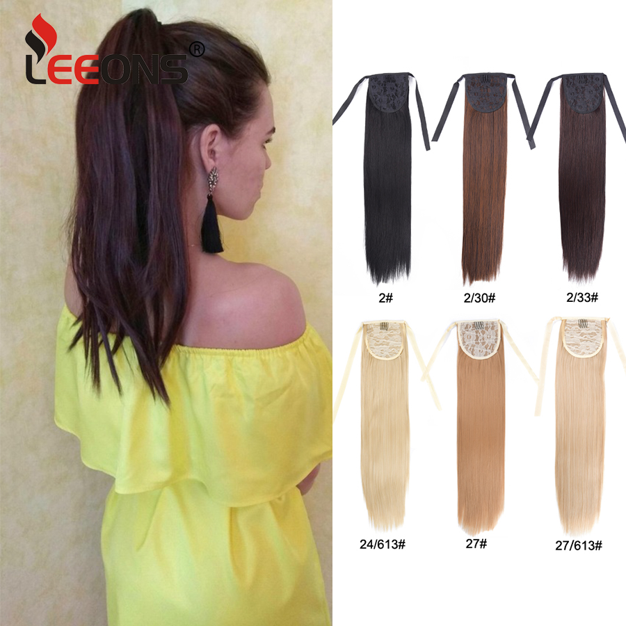 Leeons Ponytail Extensions Synthetic Hair Extension Clip In Pony Tail Hair Ponytail Wig High Temperature False Hair Ombre Hair