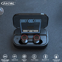 AIKSWE TWS Bluetooth 5.0 słuchawki 2000mAh etui z funkcją ładowania słuchawki bezprzewodowe radio HIFI słuchawki sportowe słuchawki z mikrofonem