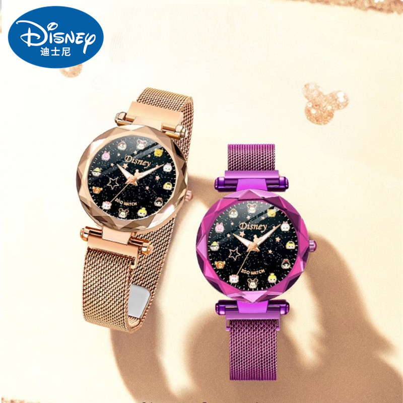 Disney New Casual Women Romantic Starry Sky Wrist Watch Leather Rhinestone Designer Ladies Clock Simple Dress Gfit Montre Femme