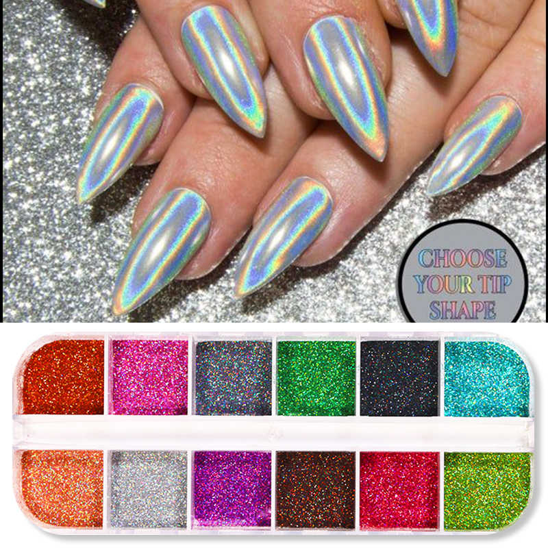 1 Box Holographics Nail Glitter Colorful Nail Powder Sparkly Shinning Flakes Dust Chrome Pigment Manicuring Art Decoration