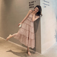 Custom 2019 New Style Korean-style Summer High Waist Slimming Fairy Skirt Elegant Polkadot Chiffon Dungaree Dress F7021(China)