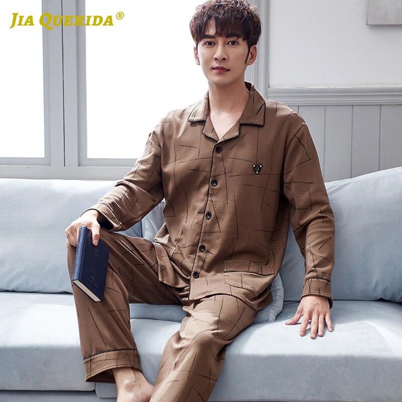 Pajamas Sleeping Suits For Men 2020 Spring New Pyjamas 100% Cotton Irregular Pattern Brown Luxury Men Leisure Home Suits Pajamas