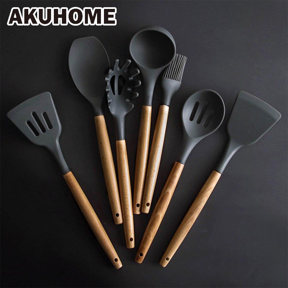 Conjunto de utensílios de cozinha, conjunto de utensílios de cozinha de silicone com espátula e pá de sopa com punho de madeira, design especial resistente ao calor