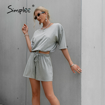 Simplee Casual Solid Drawstring Two-piece Shorts Set Fashion Outfits Summer Women Tracksuits 2021 Loose High Street Female Suits 1