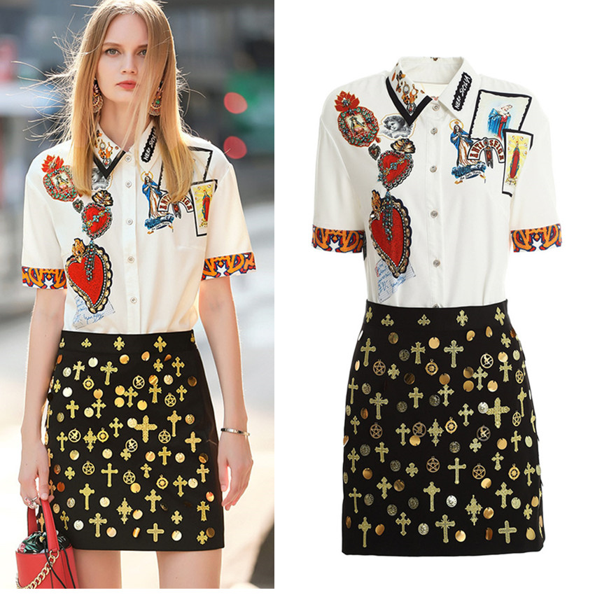 Elegant Summer Women Skirt Suit Vintage Retro Pattern Print Shirts Blouses And Skirts Party 2 Piece Set Terno Feminino CC295