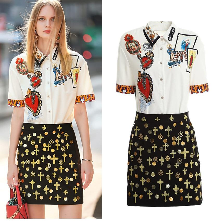 Elegant Summer Women Skirt Suit Vintage Retro Pattern Print Shirts Blouses And Skirts Party 2 Piece Set Terno Feminino CC295
