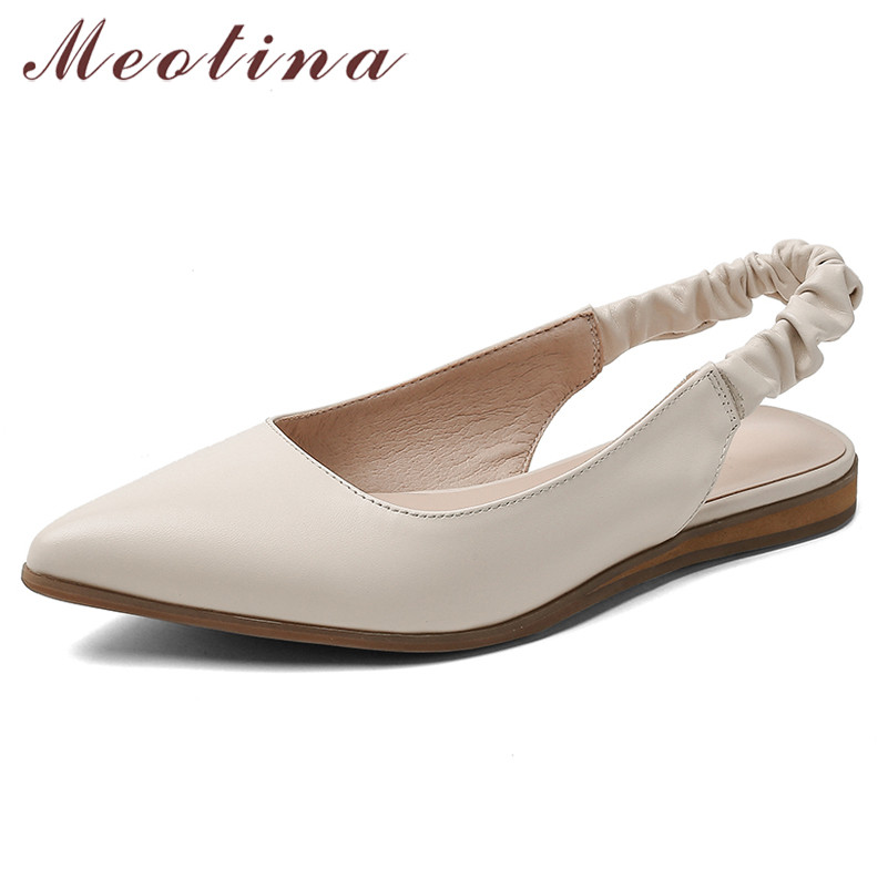 Meotina Cow Leather Flats Women Shoes Natural Genuine Leather Flat Slingbacks Shoes Shallow Pointed Toe Shoes Ladies Size 34-39
