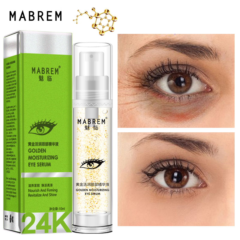 MABREM 24k Golden Eye Serum Moisturizing Anti-Wrinkle Anti-Age Hyaluronic Acid Remover Dark Circles Against Puffiness And Bags
