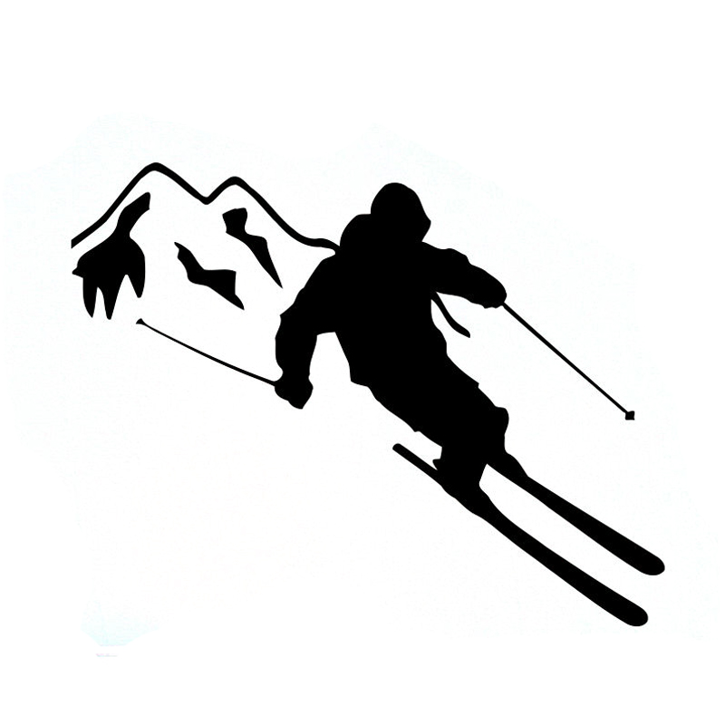 PVC 13cm <font><b>X</b></font> 10cm Personality Skiing Sports Silhouette Car <font><b>Stickers</b></font> <font><b>Motorcycle</b></font> Accessories Scratch-proof Decal image