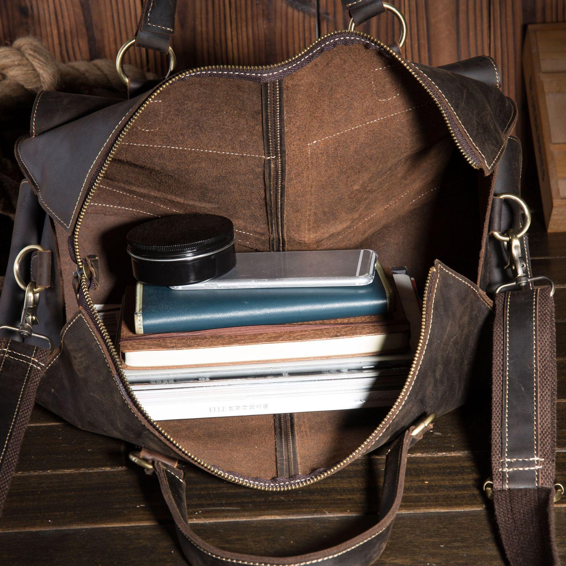 Neweekend дорожная большая сумка для мужчин, повседневный чемодан, ручная сумка из натуральной кожи для бизнеса, качественная сумка через плечо - 5