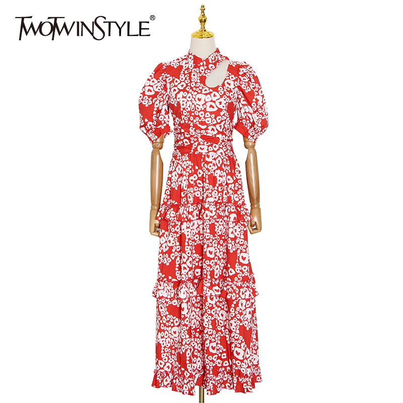 TWOTWINSTYLE Hollow Out Ruffle Print Dress Women Stand Collar Puff Sleeve High Waist Dresses For Female Summer Fashion New 2020