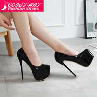CONSTANT New Snakeskin Pumps 16 CM high With Club high heels Sexy high-heeled shoes Round Toe Women Pumps Big size 42
