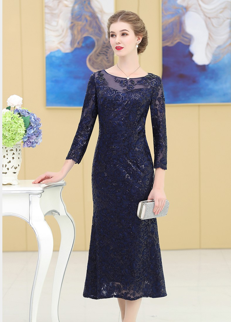 Elegant Lace Mother Of The Birde Dresses 2019 Mermaid Full Sleeve Long Wedding Events Party Prom Women Dresses