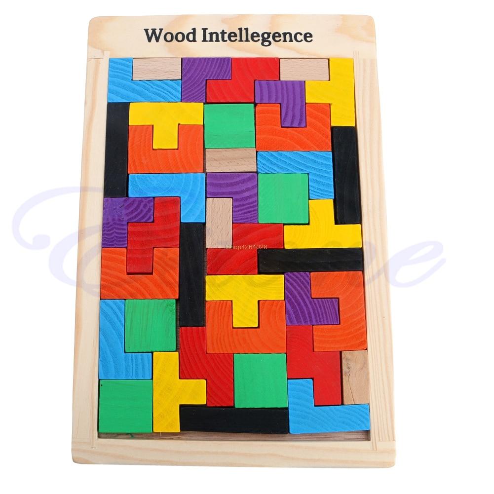 2018 Tangram Brain Teaser Puzzle Tetris Game Children Wood Educational Toy JUL24_18