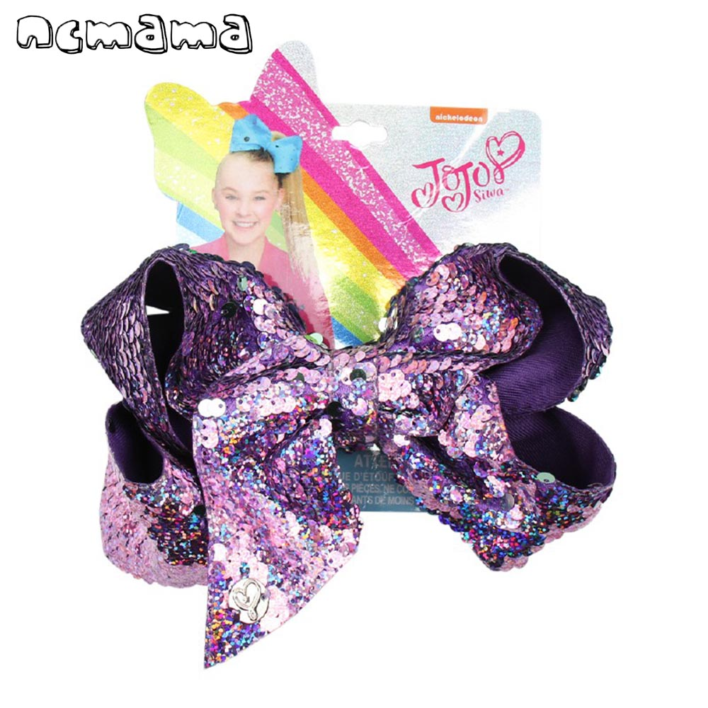 7'' Jojo Siwa Bows For Girls Laser Mermaid Reversible Sequin Bowknot Hairgrips Party Shiny Hair Clips For Girls Hair Accessories