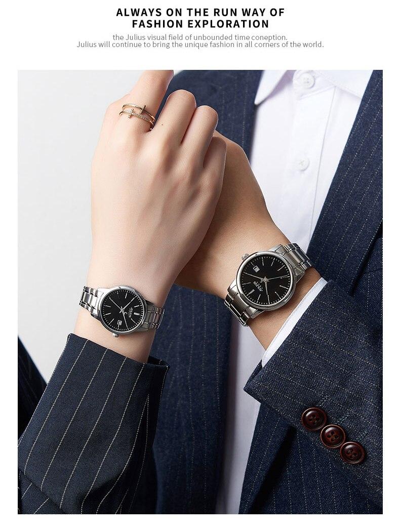 relógio de quartzo aço inoxidável pulseira relógios