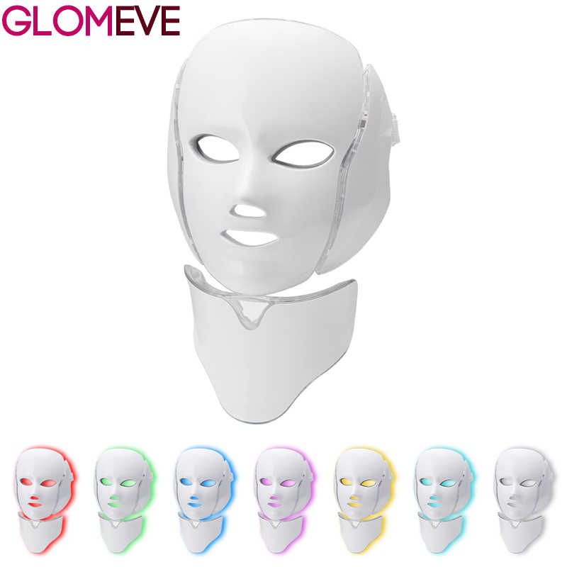 7 สี LED EMS ใบหน้าหน้ากากคอผิว Rejuvenation Face Care Treatment Beauty Anti Acne Therapy Whitening Instrument