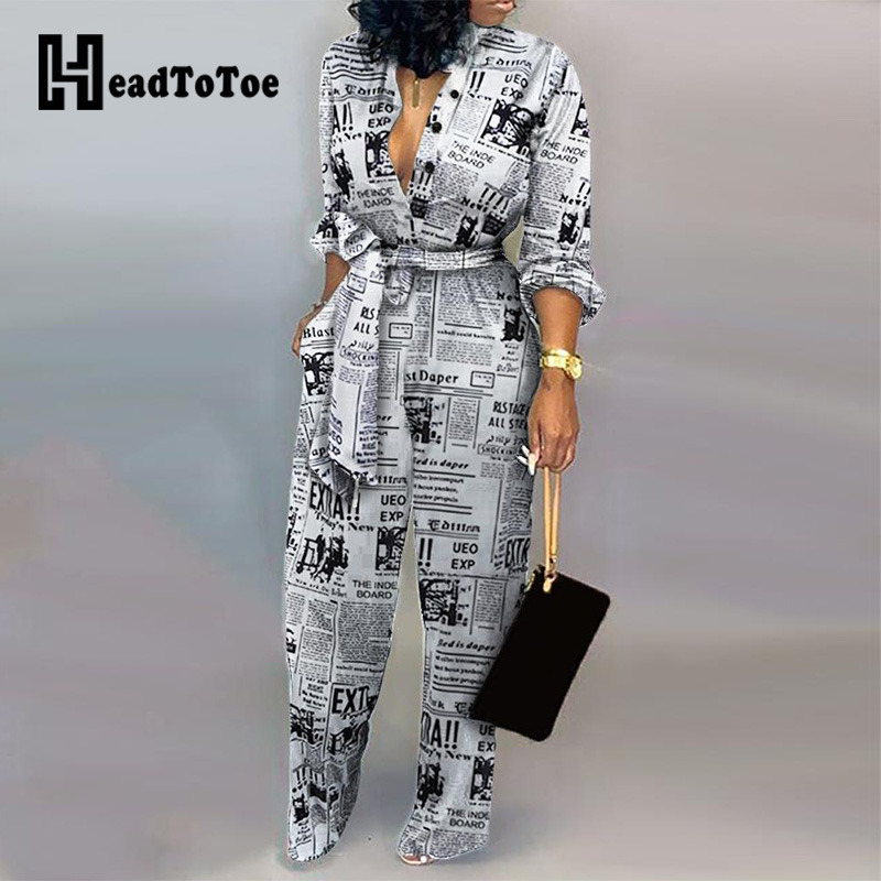 Headline Print Tied Waist Rompers Women Jumpsuit Long Sleeve V-neck Casual Jumpsuit One Piece Overalls Streetwear