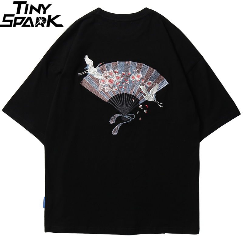2020 Harajuku T Shirt Embroidery Japanese Fan Men Hip Hop T-Shirt Streetwear Japan Sakura Crane Tshirt Cotton Tops Tees Black