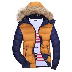 Бренд Thoshine, зимние мужские толстые парки с капюшоном, меховая отделка, лоскутное пальто, мужская верхняя одежда, теплые куртки, ветровка