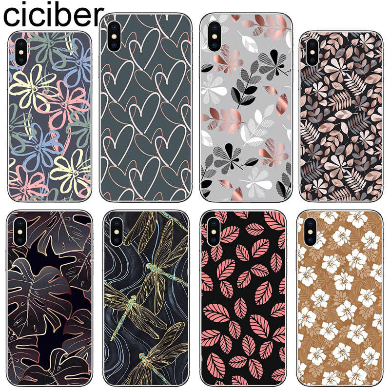 ciciber Phone Case for Iphone X XR XS Max Soft Silicone Leaves Dragonfly Cover for iphone 7 8 6 6S Plus 5S SE 11 Pro Max Coque