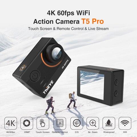 Câmera de Ação Pro com Transmissão ao Vivo Thieye Real Câmera Ultra hd t5 Giroscópio Estabilizador Controle Remoto Subaquático 60m Esporte 4 k
