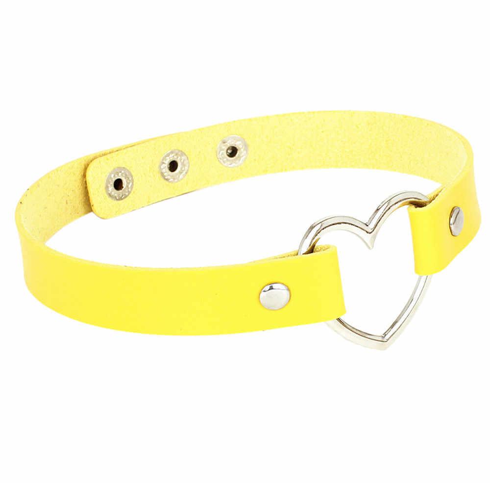 Mode Sexy Punk Style cuir cou chaîne collier coeur amour bijoux femme cou clavicule chaîne Choker colliers bijoux nouveau