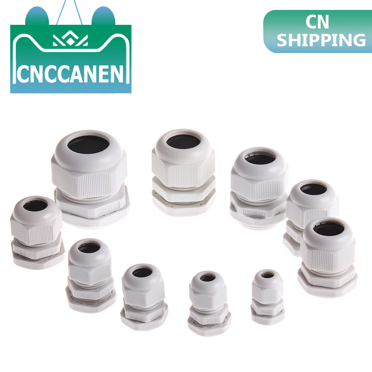 1PC IP68 PG7 For 3-6.5mm PG9 PG11 PG13.5 PG16 PG19 PG21 PG24 PG25 PG29 Wire White Waterproof Nylon Plastic Cable Gland Connector