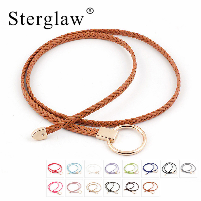 110x0.8cm New Woman Weaving  Belts For Woman Casual Leather Chain Belt Womens Straps Female Waist Belt Rope Lady Cintos N106