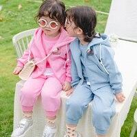Children Clothing Set Fleece Girls Sports Suit Autumn Winter Toddler Baby School Tracksuit Casual Pullover Vest Pants 3 Pieces Set BC778