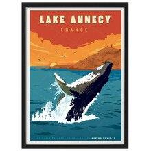França lago annecy baleia vintage viajar poster lona pintura da parede arte kraft posters revestido wallsticker decoração casa presente
