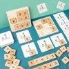 Çocuk ahşap numarası matematik hesaplamak kurulu Montessori bulmaca çocuk matematik matematik sayma eğitici oyuncaklar eğlenceli oyunlar