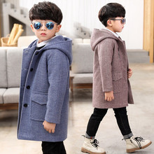 4-14T Boy Woolen Coat Children's Jacket 2020 New Fashion Hooded Slim Thick Winter Coat For Boys High Quality